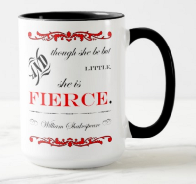 """she is fierce"" mug design front by the green cheetah photo&design"